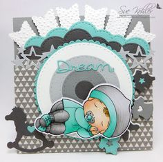 From our Design Team! Card by Suzanne Kohler featuring Sleeping Baby Luka and these Dies - Baby Clothesline Banner, Double Stitched Circles, Dream-Believe. Pierced Scalloped Circles, Rocking Horse, Scalloped Trim Banner, Star Border, Stitched Clouds Border :-) Shop for our products here - shop.lalalandcrafts.com Coloring details and more Design Team inspiration here - http://lalalandcrafts.blogspot.ie/2016/03/inspiration-friday-flags-or-banners.html