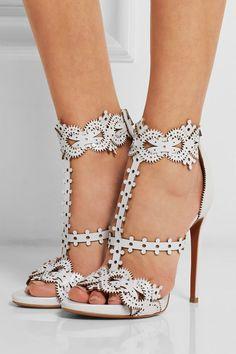 Alaïa | Laser-cut leather sandals | NET-A-PORTER.COM
