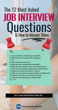 12 Typical Job Interview Questions: How To Answer Them Securing a job would be so much easier if you know the questions the hiring manager will ask you in your next Well, we'll give you the next best thing: a list of the most commonly asked questions and Typical Job Interview Questions, Job Interview Preparation, Interview Questions And Answers, Job Interview Tips, Job Interviews, Management Interview Questions, Prepare For Interview, Management Tips, Commonly Asked Interview Questions