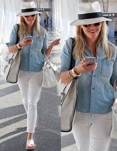 I like the denim shirt, white jeans. This is all my style.