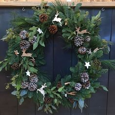 Extra large natural wreath #Christmas #wreath #farnsfield #florist #rustic #reindeer