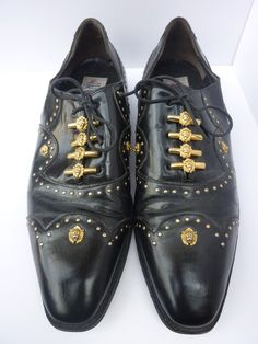 dd6c16496c22b 1980s Mens Leather Tie Lace Up Dress Shoes Made by Mauri in Italy Size 10 1
