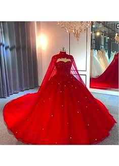 masquerade ball gowns [] Dazzling Sequin Tulle High Collar Neckline Ball Gown Wedding Dresses With Meter Long - Red Ball Gowns, Tulle Ball Gown, Ball Gowns Prom, Ball Dresses, Cute Dresses, Beautiful Dresses, Prom Dresses, Red Sweet 16 Dresses, Pretty Quinceanera Dresses