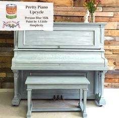This piano by Samantha at A Little Simplicity looks lovely in Persian Blue Milk Paint and white glaze! We suggest using GF's Winter White Glaze Effects to recreate this look. Old World Furniture, Upcycled Furniture, Modern Furniture, Furniture Design, Gray Furniture, Primitive Furniture, Chair Design, Milk Paint Furniture, Painted Furniture