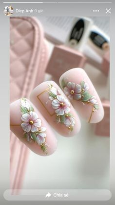 Nail Art Designs Videos, Simple Nail Art Designs, Nail Designs, Rose Nails, Pink Nails, Stylish Nails, Trendy Nails, Picasso Nails, Art Deco Nails