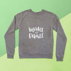 Inhale Exkale Ladies Sweater - Gifts for Yogis - Yoga Gifts by SquiffyPrint on Etsy www.squiffyprint.... #squiffyprint #kale #yoga #yogi #yogini #giftsforyogis #handstand #handstandvariation #etsy #etsyuk #girlboss #smallbusiness #shipworldwide
