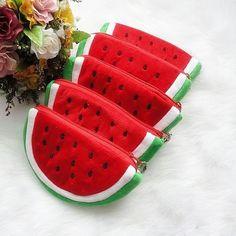 Lovely Girls Little Watermelon Zipper Coin Purse Wallets Case Plush Bag Hot