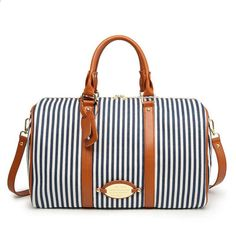 Ladies Women Canvas Travel Weekender Overnight Carry-on Shoulder Duffel Tote Bag With PU Leather Strap Best Travel Tote, Travel Bags, Carry On Luggage, Travel Luggage, Striped Bags, Striped Canvas, Best Travel Accessories, Duffel Bag, Weekender