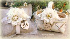 Flower Girl Basket and Ring Bearer SET via Etsy