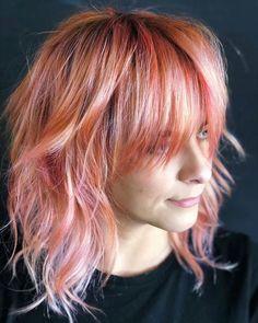 Pink Peach Hair, Peach Hair Colors, Hair Color Pink, Lilac Hair, Hair Color And Cut, Hair Dye Colors, Green Hair, Blue Hair, Red Peach