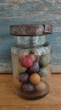 Early Glass Jar with Marbles.