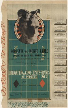 """Marcel Duchamp. Monte Carlo Bond (No. 12). 1924. Cut-and-pasted gelatin silver prints on lithograph with letterpress. 12 1/4 x 7 1/2"""" (31.2 x 19.3 cm). Gift of the artist. 3.1939. © 2016 Artists Rights Society (ARS), New York / ADAGP, Paris / Estate of Marcel Duchamp. Drawings and Prints"""