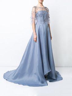 Marchesa flower embellished flared gown