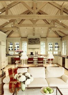 Bleached wood cathedral ceiling #kitchen