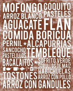 Puerto Rico Food Poster. Your favorite foods from Puerto Rico in one fabulous food art poster. Scroll through photos to see different color examples. **UNFRAMED PRINT** Poster printed on high quality,