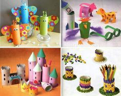 12 Toilet Paper Roll Crafts for Kids - Recycle Toilet Paper Tubes! Kids Crafts, Crafts To Do, Projects For Kids, Diy For Kids, Craft Projects, Arts And Crafts, Paper Crafts, Toilet Paper Roll Art, Rolled Paper Art