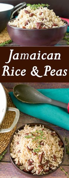 Rice and Peas A fool proof recipe for making flavorful Jamaican rice and peas using coconut milk and kidney beans.A fool proof recipe for making flavorful Jamaican rice and peas using coconut milk and kidney beans. Jamaican Rice, Jamaican Cuisine, Jamaican Dishes, Jamaican Recipes, Jamaican Party, Pea Recipes, Side Dish Recipes, Indian Food Recipes, Vegetarian Recipes
