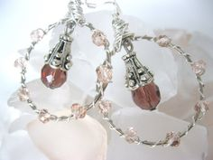 Pink and mauve crystal hoop earrings by LaylasTrinkets on Etsy, $16.00