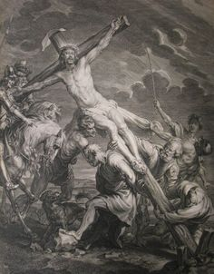 Christ's earthly ministry in the Phillip Medhurst Bible 421 of 550 Jesus is crucified Matthew after Vandyck Religious Images, Religious Art, Soldier Drawing, Immaculée Conception, Bible Images, Religious Tattoos, Jesus Art, Occult Art, Biblical Art