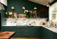 deep green kitchen w