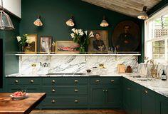 deep green kitchen w