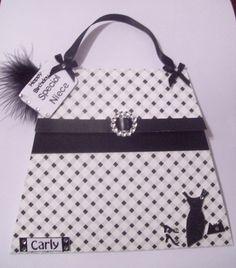 Personalised Black & White Handbag Card  £4.00