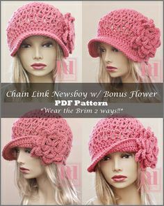 Crochet pdf pattern chain link newsboy 2 looks easy crochet pattern for women s chemo cap with flower scalloped edge this is a pattern not a cap Crochet Adult Hat, Crochet Winter Hats, Crochet Cap, Crochet Beanie, Knitted Hats, Crochet Turban, Easy Crochet Patterns, Flower Patterns, Crochet Ideas