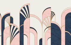 Blue & Pink Art Deco Arches Print Wallpaper Mural | Hovia