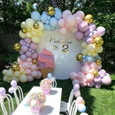 Valentina's Ice Cream Theme Birthday Party ? Balloons Props Kids Chairs and Table ?Valentina's Ice Cream Theme Birthday Party ? Balloons Props Kids Chairs and Table Balloon Decorations Party, Birthday Party Decorations, 1st Birthday Parties, Baby Shower Decorations, Birthday Cake, Baloons Wedding, Party Girlande, Party Kulissen, Party Plan