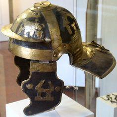 Roman legionary helmet with brass applique. Mid-I century AD.