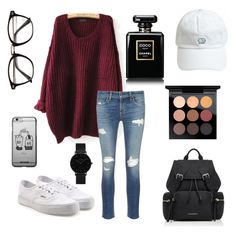 Strolling in town by audreyb15 on Polyvore featuring polyvore, fashion, style, rag & bone/JEAN, Vans, Burberry, CLUSE, MAC Cosmetics, Chanel and clothing