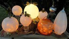 glassy classy pumpkin globes, crafts, repurposing upcycling, seasonal holiday decor, Add lights and magic