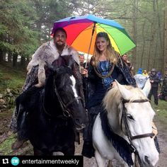 From instagram  ・・・ Under the rainbow with my partner in crime @robboben_ - @katherynwinnick #Vikings #Lagertha #Kalf