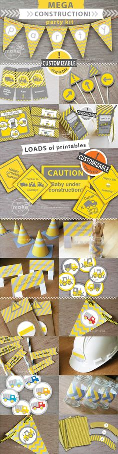 Construction party printables to make your own construction party theme for birthday parties and baby showers! This MEGA party printable kit is filled with CUSTOMIZABLE printables—banners, construction signs, WAY TO MUCH FUN fuel pump drink wrappers, favor tags, and LOADS more! Simply click and type on your customizable printables to add messages before printing! INSTANT DOWNLOAD. Begin printing as many as you wish right away at home or at your favorite print shop! | You Make Do® |
