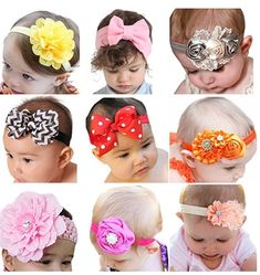 9+Pack+Of+Stretch+Bow+Hairbands+For+0-10+Year+Olds+Only+$8.99+{reg.+$32)+=+$1+Each!