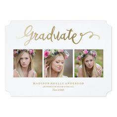 Lettered in White Graduation Invitation Graduation Announcements, Graduation Invitations, Jefferson High School, Dream Prom, Grad Parties, Invitation Design, Lettering, Party, Photography
