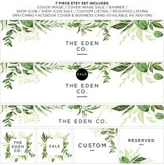 Etsy Store Banner Watercolor Green Leaves Store Graphics
