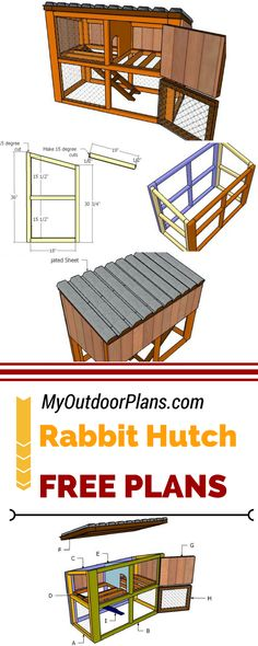 Learn how to build a rabbit hutch with easy to follow instructions and diagrams! Check out my free rabbit house plans so you can get the job done by yourself and save a lot of money! #diy #rabbit myoutdoorplans.com