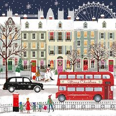 London Bus - Our pick of the sweetest festive greeting cards which help a good cause - from super traditional to kitsch there s a card for you whatever your style # Christmas Drawing, Christmas Art, Winter Christmas, Vintage Christmas, Xmas, Christmas Sketch, Christmas 2019, Days Until Christmas, Christmas Morning