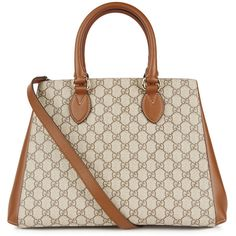 Gucci GG Supreme monogrammed tote ($1,500) ❤ liked on Polyvore featuring bags, handbags, tote bags, leather tote, leather tote handbags, gucci handbags, monogram tote and monogrammed leather tote bags