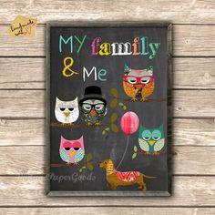 My+Family+&+Me+-+Eulen+Poster+++von+VintagePaperGoods+-+GreenNest+auf+DaWanda.com