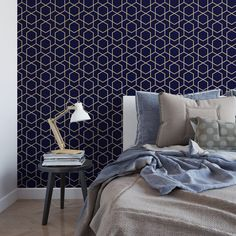Navy and gold hexagon removable wallpaper / geometric wallpaper / self adhesive wallpaper / dark wallpaper / temporary wallpaper Geometric Temporary Wallpaper, Gold Removable Wallpaper, Self Adhesive Wallpaper, Geometric 3d, Bathroom Wallpaper Navy, Gold Wallpaper, Peel And Stick Wallpaper, Hexagon Wallpaper, Papier Paint