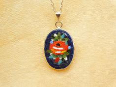 $ 25.70 I'm happy to show the last arrival #etsy: Micro mosaic pendant - Red rose on blue background #gioielli #collane #blue #floreale #rosso #vetro #micromosaic #women #rosa #blue #glass #jewel #pendant