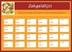 zakgeldlijst Too Cool For School, Kids Education, Adhd, Frugal, Compliments, Budgeting, Coaching, Periodic Table, Life Hacks
