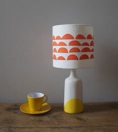 Sunshine Dip Porcelain Lamp with Coral Clouds Shade £144.00 Butterscotch Beesting