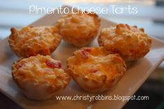 Pimento cheese tatted Appetizer Dips, Appetizer Recipes, Breakfast Casserole Muffins, Cheese Tarts, Pimento Cheese, Tailgating Recipes, Miniature Food, Finger Foods, Easy Meals