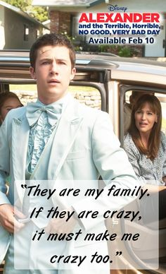 """""""They are my family. If they are crazy, it must make me crazy too."""" from Alexander and the Terrible, Horrible, No Good, Very Bad Day. Available on Blu-ray™, Digital HD & Disney Movies Anywhere Feb 10th! #ad"""