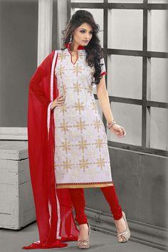 Off White Color Party Wear Cotton Salwar Suit