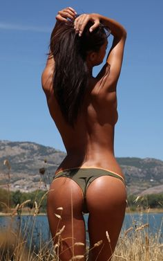 Tan Skinny Brunette With Perfect Butt Outdoors