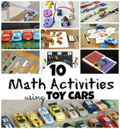 Add, subtract, learn patterns, colors, number recognition and more with Toy Cars! 10 great math activities using your toy car stash!
